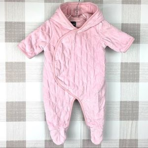 Baby Gap Pink Quilted Winter Suit Bear Hood 0-3 mo